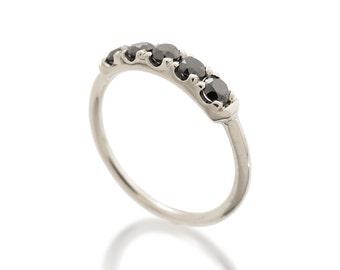 Black diamonds white gold ring, 18K white gold ring, Unique engagement Ring, 14K gold and diamonds ring, Black diamond Wedding ring