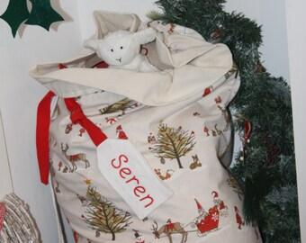 Personalised Christmas Sack-Christmas Present Sack, Christmas Toy Storage, Personalised Christmas Sack, Custom Christmas Sack.