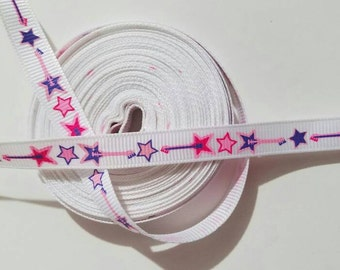 "3/8"" Guitar/Star grosgrain printed ribbon by the yard"