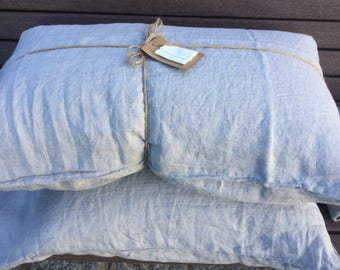 SALE! Grey/ bluish linen pillowcases, king and queen sizes available
