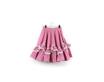 80s Lil Bow Peep Skirt / Ruffle Hem / High Waisted / Small - Large