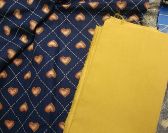Dark blue with hearts & gold fabric
