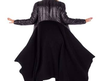 Steampunk Jacket, Womens Coat, Plus Size Gothic Jacket, Wool Coat, Maxi Coat, Black Jacket, Asymmetrical Coat, Fall Coat, Boho Coat