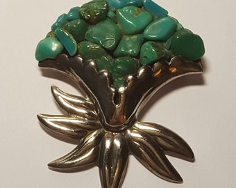 Vintage Los Castillo Sterling Turquoise Cluster Pin