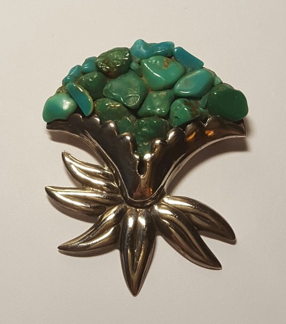 Vintage Los Castillo Sterling Turquoise Cluster Pin