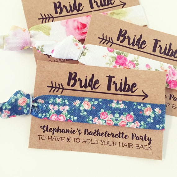 PERSONALIZED Floral Hair Tie Favors | Floral Bachelorette Party Favor Hair Ties, Bridesmaid Gift, Wedding + Bridal Shower Hair Tie Favors