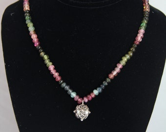 Tourmaline & Sterling Silver Necklace with Blue Topaz Clasp