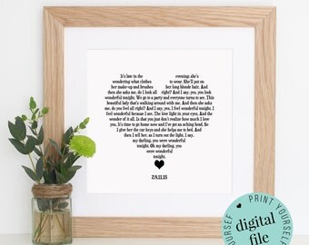 Personalised FIRST DANCE Lyrics - Word Art - Printable Gift - 1st Anniversary Gift - Wedding Gift - Paper Anniversary - First Dance Art
