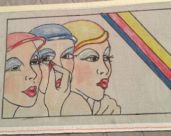 Needlepoint canvas, Art Deco canvas, colorful tapestry, rainbow needlepoint, needlecraft, glamour girls canvas, modern   Needlework,