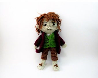 Bilbo Baggins from The Hobbit Handmade Amigurumi Crochet Doll Made to Order Lord of the Rings Fan Art