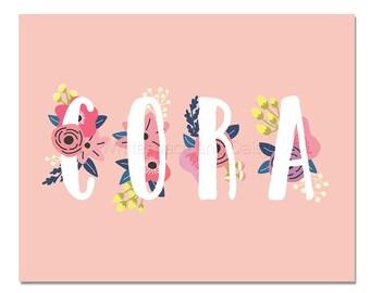 Cora Baby Name Wall Art Cora Baby Name Sign Cora Party Printable Cora Party Decorations Cora Art