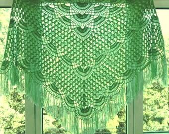 Length - top 220 cm, hand knit crochet shawl wrap - triangle shape, Russian shawl vintage style   f0.22