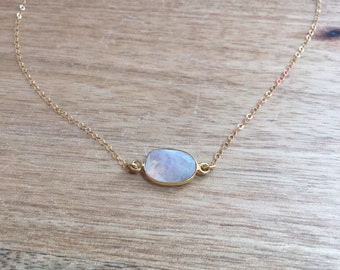 Moonstone Necklace - Rainbow Moonstone - Gift for Her  - Moonstone Jewelry - Moonstone - June Birthstone - June Birthstone Jewelry