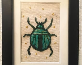 Small Framed Beetle Embroidery