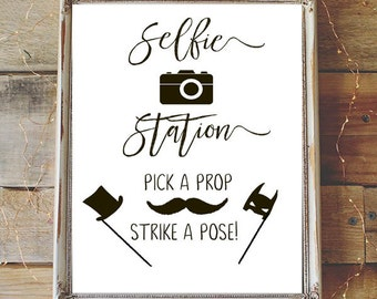 It is a graphic of Playful Selfie Station Sign Free Printable