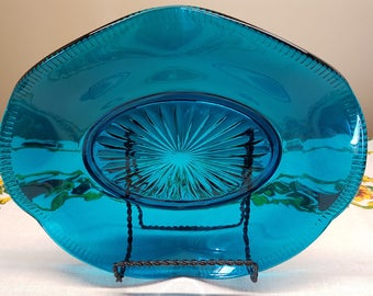 Vintage Aqua Flared Edge Glass Dish