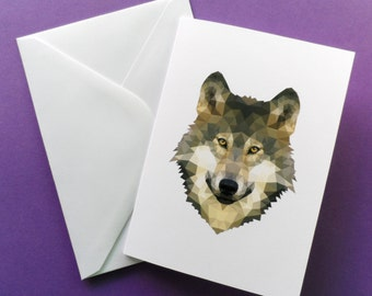 Card For Her - Geometric Wolf