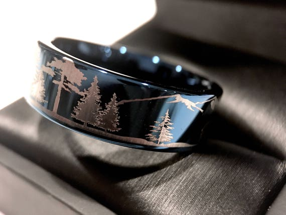 Wedding Bands Bears In Mountains Forest Landscape Tungsten Band Blue Ring Rings His And Her Promise
