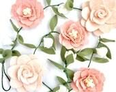 Felt Flower Nursery Decor Garland   Pink, Blush, White   Felt Flower Garland   Nursery Decor