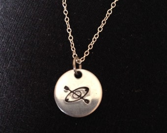 Tiny hand stamped kayak pendant charm necklace w/delicate sterling chain