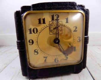 Gilbert Clock,vintage,Black,1950s clocks,1940s,clocks,Vee Mat,antique clocks,play props,movie props,mid century modern,stage props