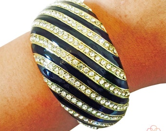 Fitbit Bracelet for Fitbit Flex or Flex 2 Fitness Activity Trackers - The MARILYN Black and Gold Rhinestone Striped Bangle Fitbit Bracelet