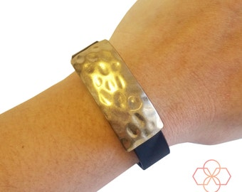 Activity Tracker Charm to Accessorize Fitbit & Other Activity Trackers-The MINI ROXANNA Hammered Gold Charm to Dress Up Your Fitness Tracker