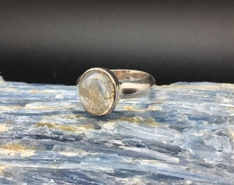 Rutilated Quartz Ring // 925 Sterling Silver // Simple Oval Sterling Setting // Needle Quartz Ring