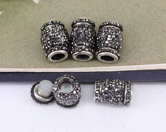 10pcs Crystal Rhinestone Strong Magnetic Clasps,End Caps Inner diameter 6mm Magnetic Clasps for making Leather Bracelet jewelry