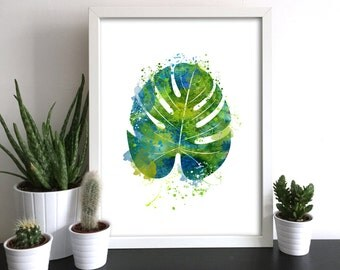 MONSTERA Greenery Watercolor Print Tropical Plant Decor Green Blue Art Leaf Leaves Ink Painting Art Print Poster Giclée Wall Decor (Nº1)