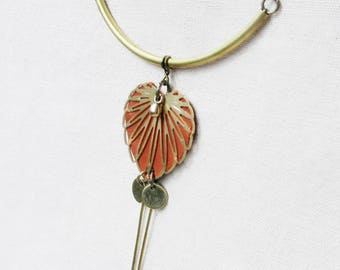 Necklace leather and brass, Philo
