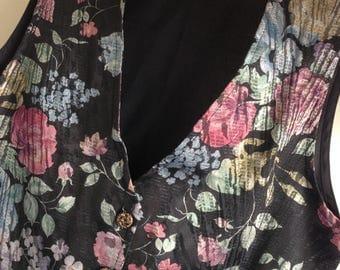 Elegant Size M - L Shimmery Pink Green Black Floral Tapestry Look Vest