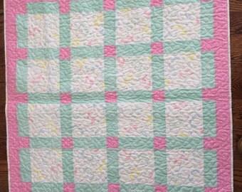 Baby Quilt, baby quilt Girl, Cuddle Blanket, baby quilt pink, baby blanket, pink blanket, minky