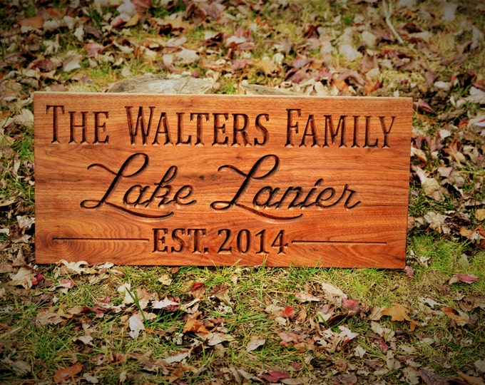 Rustic Last Name Establish Sign Personalized Family Name Sign Personalize Wood Sign Walnut Custom Wood Sign Carved Wood Outdoor Sign 5 Year