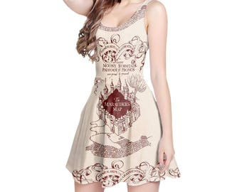 Marauder's Map Harry Potter Inspired - Sleeveless Skater Flared Dress in XS-3XL -  000938