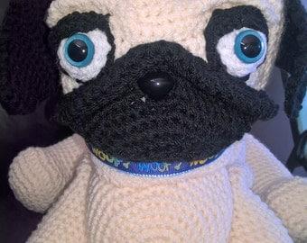 Crochet pug dog, crochet pug, crochet pug the dog, gift,