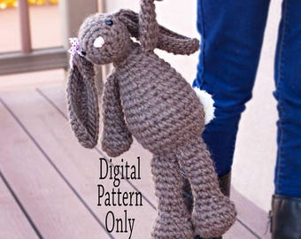 Crocheted bunny pattern, crocheted bunny, plush bunny, stuffed bunny, stuffed animal, crochet pattern, amigurumi crochet pattern