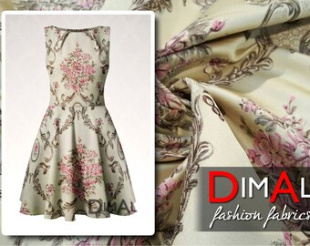 Beige and pink flower jacquard fabric #2086
