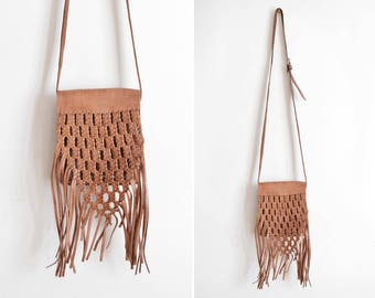 Vintage Leather Fringe Bag, Long Crossbody Bag, Shoulder Bag, Small Festival Bag, Braided Brown Leather Bag, Handmade Purse  // Boho Hippie