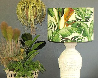 Extra Large Aus Made LampShade Green Foilage 43x30cm 2 Fittings, Made to Order 1-2 weeks