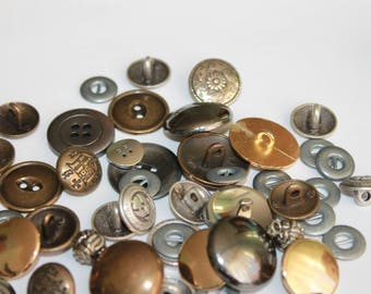Random metal and metal look buttons, assorted colors shapes and sizes, small medium large metal buttons, lot of 25