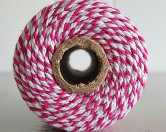100mt roll 12ply HOT PINK /White Bakers Twine 100% cotton