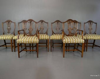 Set 8 Sheraton Style Reproduction Mahogany Dining Chairs