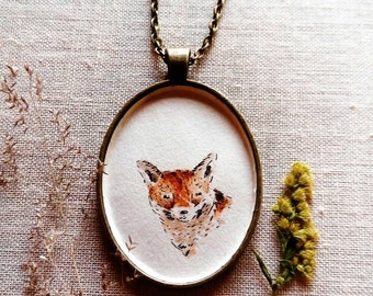 Fox necklace - Original illustration