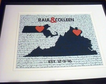 Two States Love, Paper Anniversary Gift, Personalized Wedding Gifts, 11X14 Unframed State Wedding Gift, Paper Anniversary Gift For Him