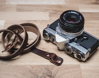 Leather Camera Strap with Camera Bumpers | Hand Made Leather Camera Strap | DSLR Camera Strap | Sterling