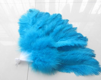 18x36inch Large  Feather Fan Burlesque Dance feather fan Bridal Bouquet Turquoise