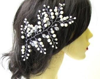 Large Ivory Faux Pearl Fern Leaf Silver Hair Vine Bridal Headpiece Vintage 1618