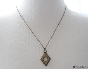 Men's Antique Necklace, Rhombus Necklace, Vintage Style Necklace, Bronze Diamond Shape Pendant Necklace, Personalized Gift