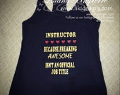 LOGO ADD-ON Fitness inspired tank top, for fitness instructor, freaking awesome
